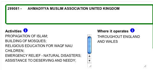 Ahmadiyya - Charities Commision