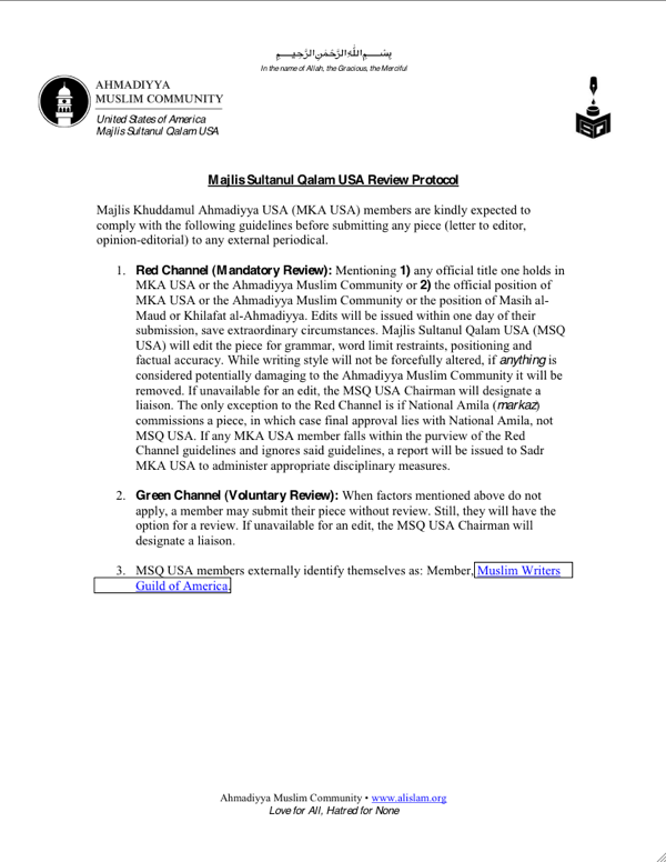 MSQ USA review protocol